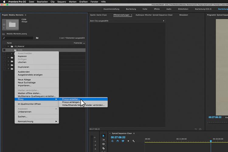 die lichtfänger Adobe Premiere Proxy Workflow