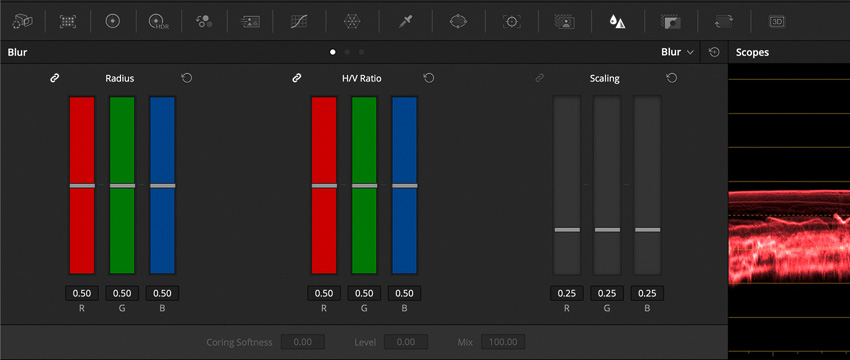 DLF DaVinci Resolve Color Tab Blur