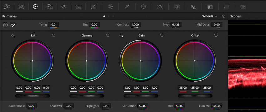 DLF DaVinci Resolve Color Tab ColorWheels