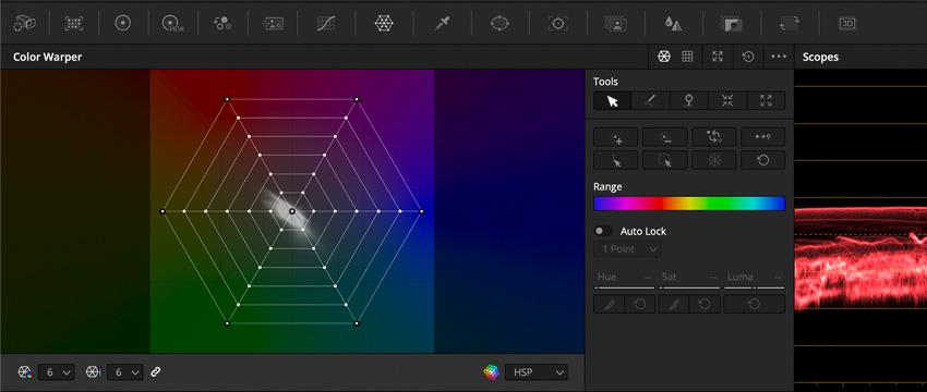 DLF DaVinci Resolve Color Tab Color Warper